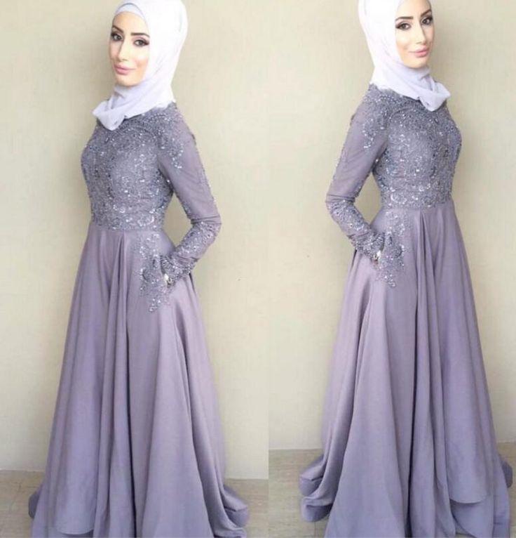 2016 Lace A-line Arabic Muslim Bridesmaid Dresses Crew