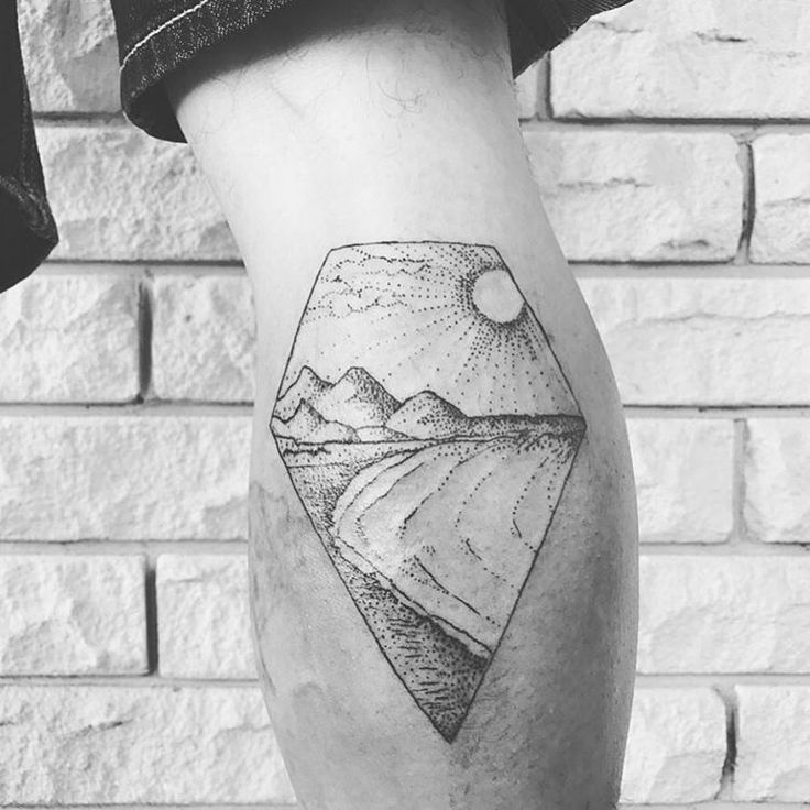 """83 Likes, 8 Comments - Jmunz (@dot.tattoos) on Instagram: """"Beach and Mountains Illustration Tattoo (Calf). . Message if you want any work like this done. .…"""""""