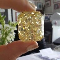 Radiant cut natural fancy yellow diamond of > 80 ct