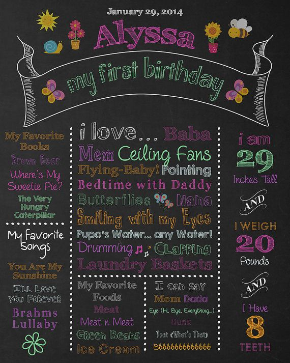Hey, I found this really awesome Etsy listing at https://www.etsy.com/listing/183694759/colorful-first-birthday-chalkboard-sign