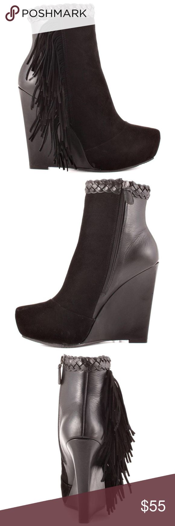 Boutique 9 Cerys Black Suede Wedge Ankle Boots Black Fringe detailing on outer sides of shoes, black suede & black leather mix, hidden platform. Worn once, looks like new! Boutique 9 Shoes Wedges