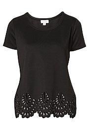 Laser Cut out Hem Tee - witchery
