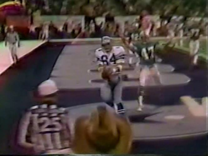"""Tight end DOUG COSBIE (84) scoring the first of two touchdowns by Dallas in the waning minutes of the fourth quarter to give the Cowboys a 28-27 upset victory over the Miami Dolphins--October 25, 1981   This game I consider to be one of the best Cowboys come-from-behind wins and it was orchestrated by Danny White--now there was another Cowboy qb who was capable of being """"Captain Comeback""""!!"""