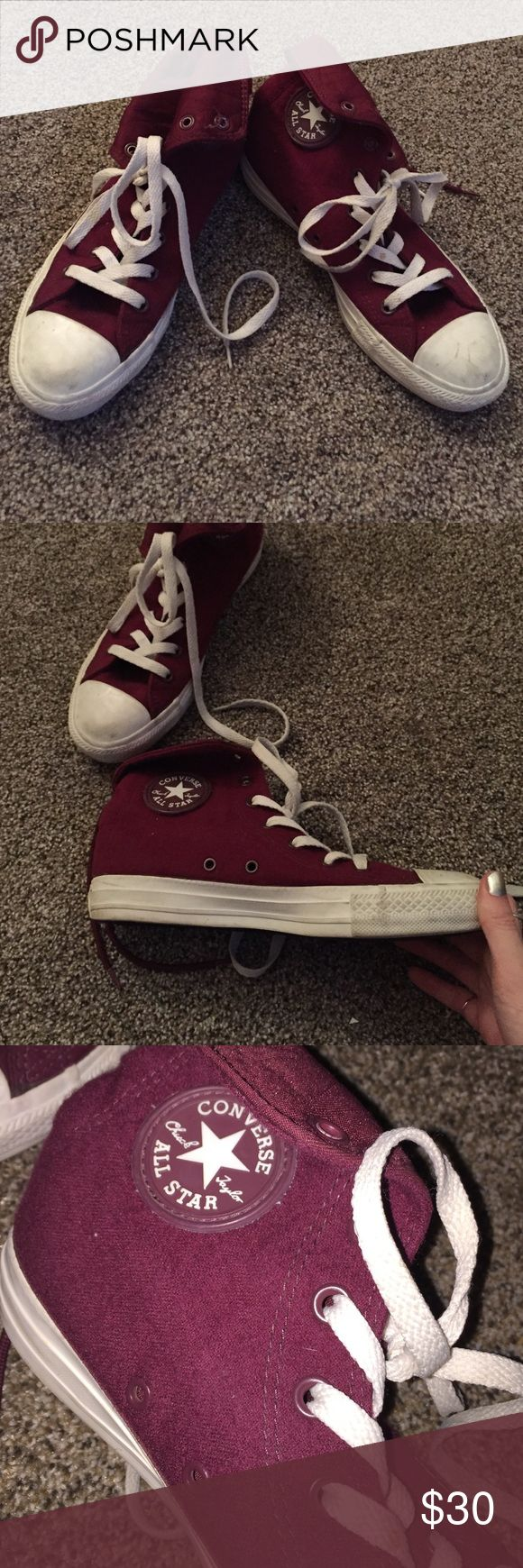 Gently worn maroon high tops men's size 5 Great condition, fit like an 8 or 8.5 super cute! Converse Shoes Sneakers