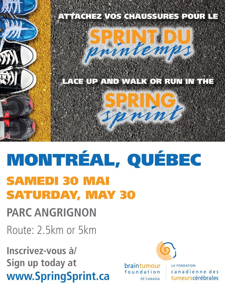 May 30, 2015, Parc Angrignon, Montreal, Quebec. Attachez vos chaussures pour le Sprint du Printemps. Lace up and walk or run in the Spring Sprint. http://www.springsprint.ca/site/TR?fr_id=1212&pg=entry