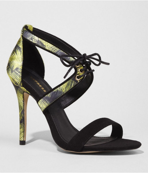 Express Womens Piped Palm Print Laceup Heeled Sandal Black, 9