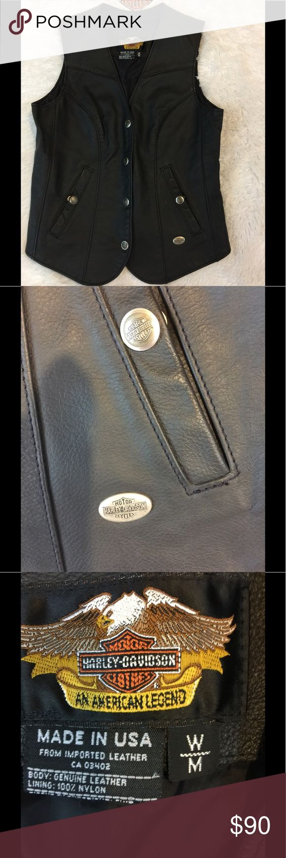 Women's Harley Davidson Leather Vest NWOT New with out tags, perfect condition women's Mall leather, black Harley Davidson Vest, just ready and waiting for your patches.  No pets/Smoke closet Harley-Davidson Jackets & Coats Vests
