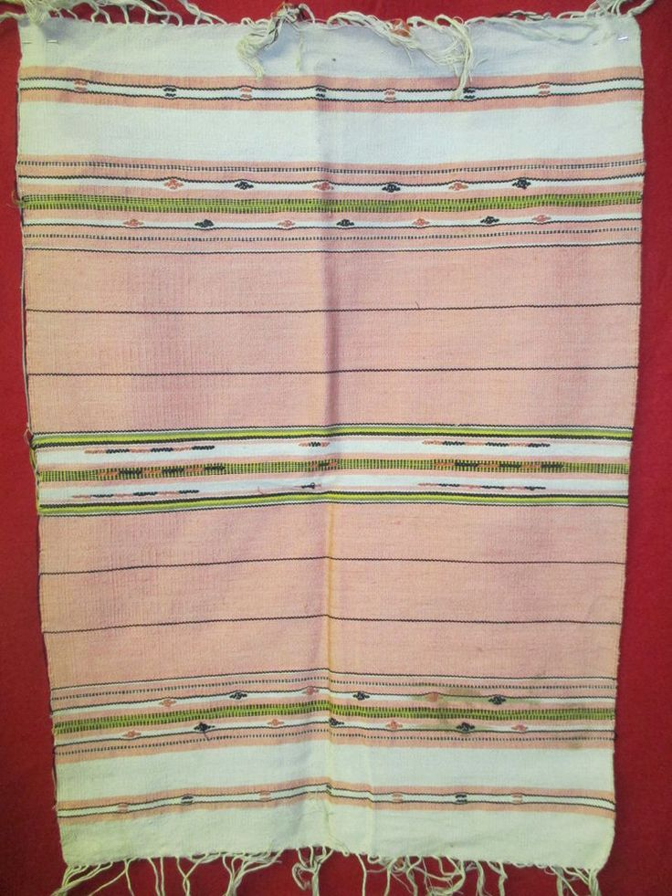 Vintage hand woven cotton small Mexican Rug cream & salmon pink