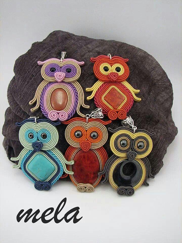 Soutache owls