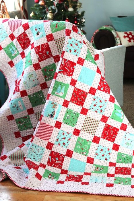 CUTE Christmas quilt with FREE tutorial! Pixie Noel fabric designed by Tasha Noel for Riley Blake Designs