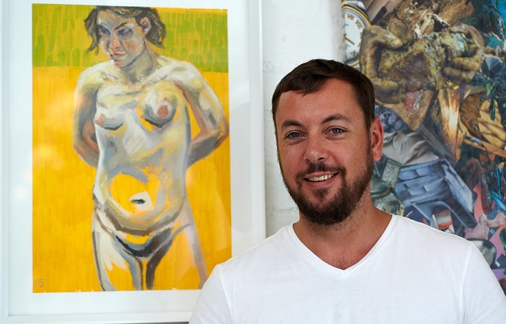 Artist Frans Smit by some of his works in our Art Gallery.