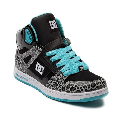Shop for Womens DC Rebound Hi Skate Shoe in Black Aqua Leopard at Journeys Shoes.Hi-top skate shoe from DC, the Rebound Hi features a synthetic upper with leopard print patent accents, padded collar, elastic tongue-centering straps, and a DGT rubber sole. I want these!!