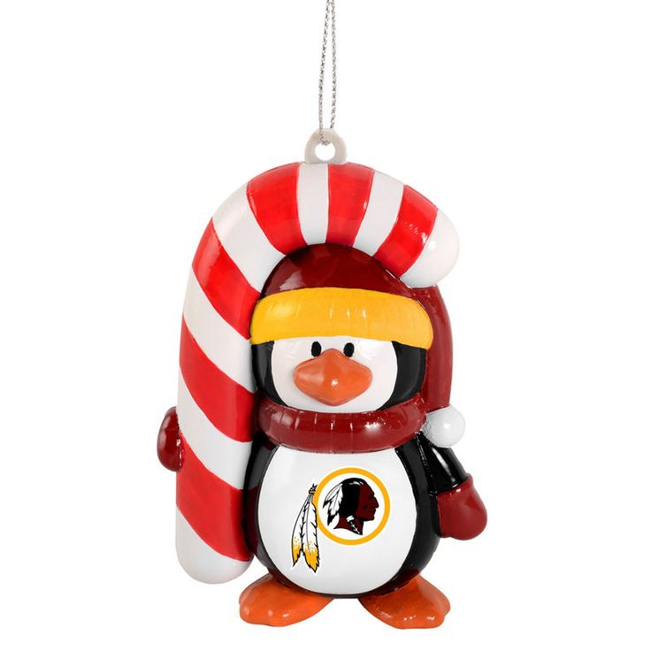 Washington Redskins Penguin with Candy Cane Ornament