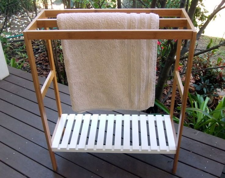 Bamboo Wood 3 x Rail Towel Rack & White Wooden Shelf Free Standing Storage Stand