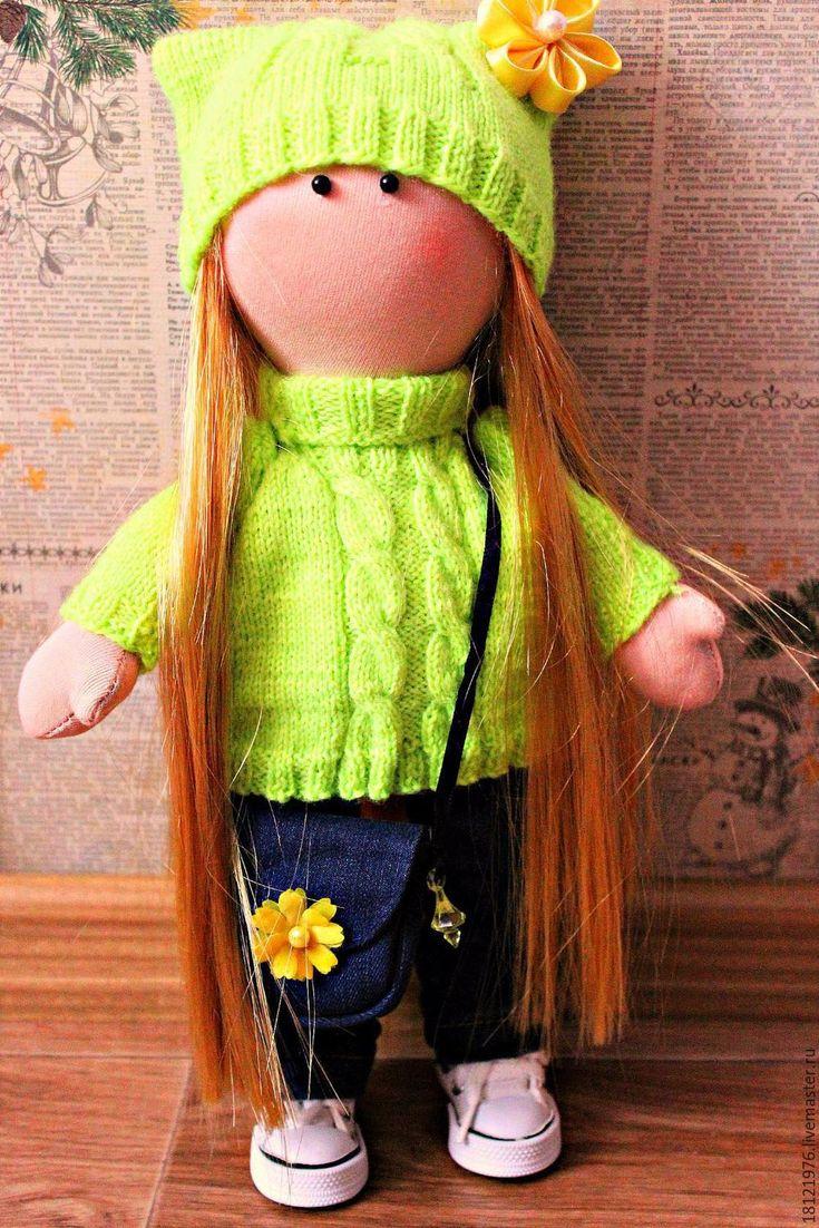 Купить Интерьерные куклы - интерьерная кукла, кукла ручной работы, ярко-зелёный, трикотаж, хлопок