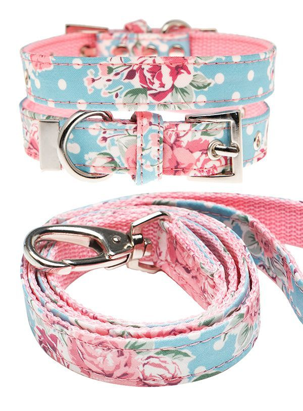 Classic Rose Floral Floral Fabric Collar and Lead Set Dog Collar & Lead Sets at Urban Pup