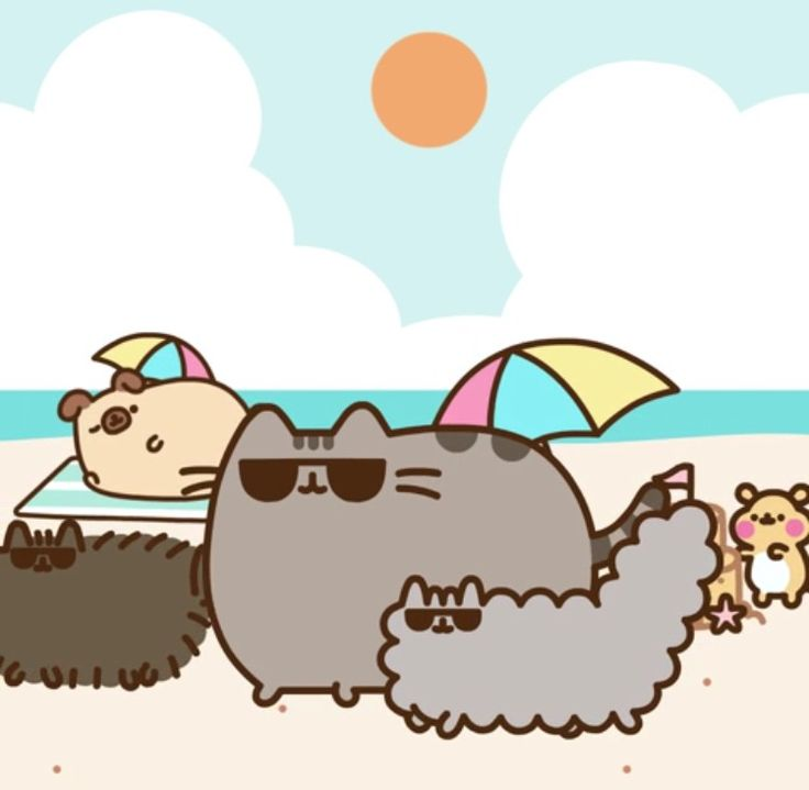 Pusheen and co on the beach 2
