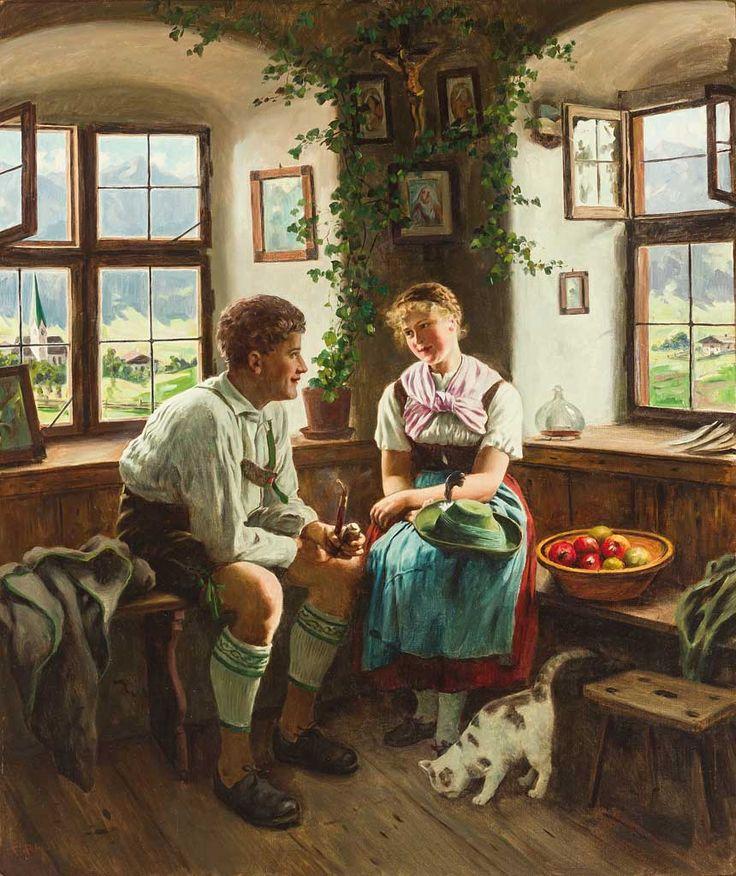 ✨ Emil Rau, German (1858-1937) - Junges oberbayerisches Paar in ländlichem Interieur mit Herrgottswinkel. Blick durch die Fenster auf Kirchdorf und Gebirgsmassiv. Sign. Öl/Lwd. 100 x 85,5 cm.
