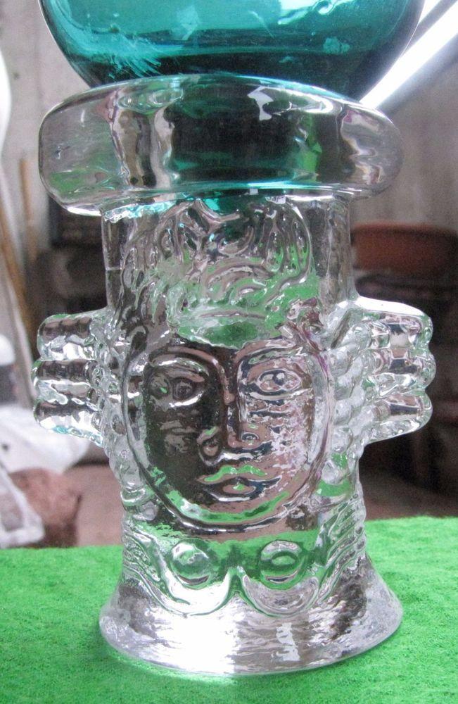 Art Glass candelabra candle holder vintage scandinavia