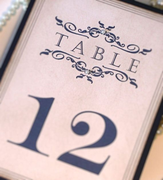 Wedding Table Numbers Vintage Table Numbers Navy by amaretto