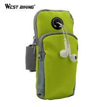 WEST BIKING Runing Arm Bag Phone Holder Jogging GYM Adjustable Waterproof ArmBand Cover Deporte Sport Riding Bike Cycling Bags(China (Mainland))