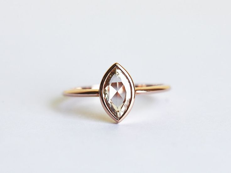 Rose Gold Diamond Engagement Ring, Champagne Diamond Ring, Marquise Cut Diamond Ring, 14k Solid gold by MinimalVS on Etsy https://www.etsy.com/listing/229411877/rose-gold-diamond-engagement-ring
