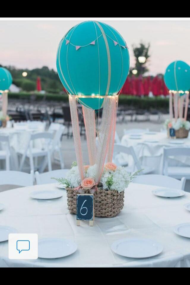 Hot air balloon floral centerpiece party pinterest