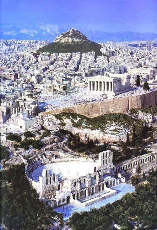 Athens   Mt.. Lycabettus (Likavitos), the Parthenon, and ancient theater