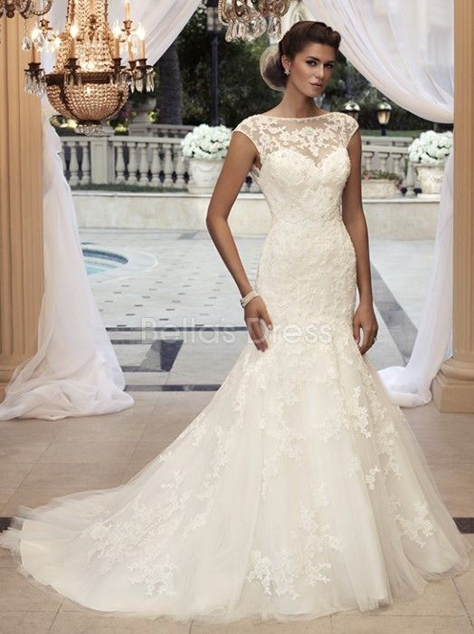 Oh my gosh this is PERFECT.!!!!   AHHHH!!!!!!!    V Back Bateau Fit N Flare Lace Cathedral Train Wedding Dress