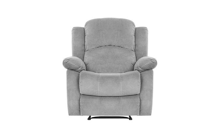 Traditional Grey Brush Microfiber Recliner Chair