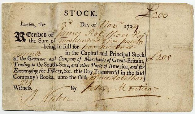 the South Sea Company in 1720 Value then: 200 million British Pounds // Adjusted to 2012 dollars: U.S. $4 trillion