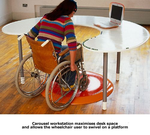 Experimental Curved Wheelchair Desk With Turntable Platform For Edge Has Groove To Catch