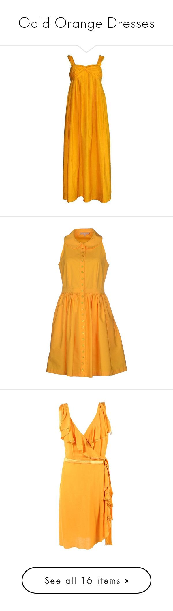 """Gold-Orange Dresses"" by tegan-b-riley on Polyvore featuring dresses, maxi dresses, orange, summery dresses, drape maxi dress, summer maxi dresses, preowned dresses, orange maxi dresses, yellow and no sleeve dress"