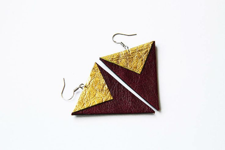 'Vito' Leather Chevron Earrings