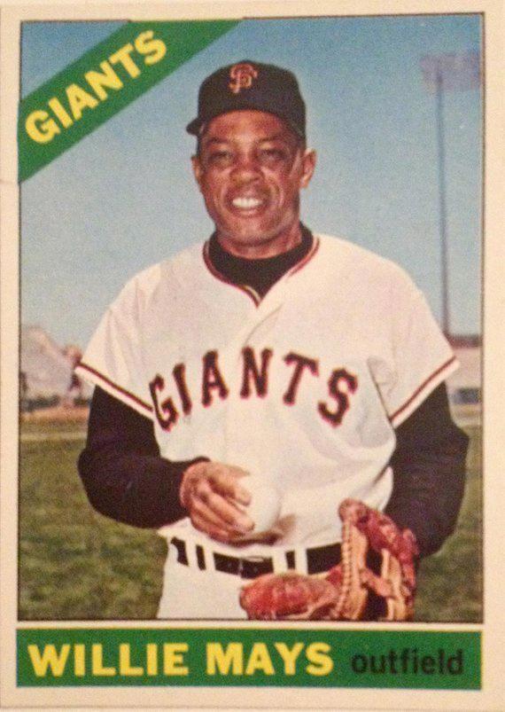 Willie Mays Topps 1 Original 1966 Baseball Card 66 San