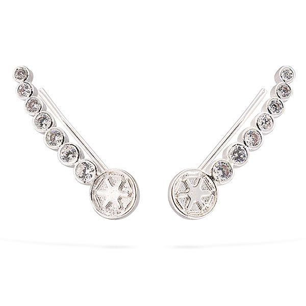 """A single accessory could make the difference between """"most impressive"""" and """"you've failed me for the last time."""" Show your loyalty to the Empire with a pair of these Imperial Logo Ear Climber Earrings."""
