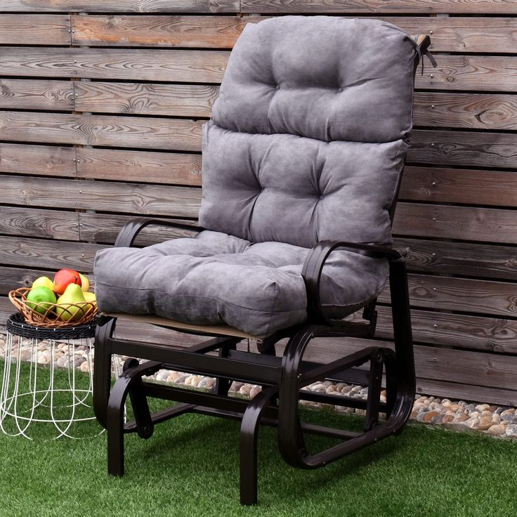 Costway 44'' High Back Chair CushionTufted Pillow Indoor Outdoor Swing Glider Seat Gray, Grey, Outdoor Cushion
