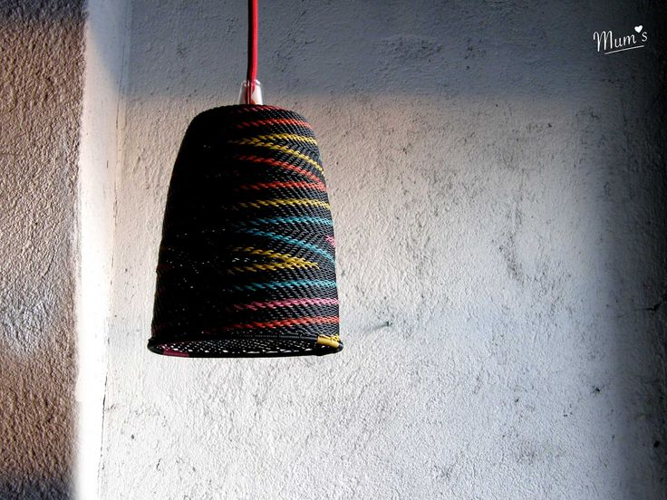 KIELO ( Lily of the valley) lampshade. Ziczac brights on black. Designed in Finland, made fairly in the hands of African artisans.