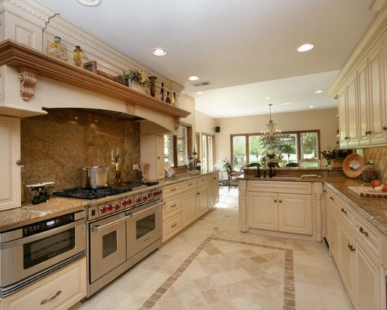 Travertine floor white cabinets design pictures remodel Luxury kitchen flooring