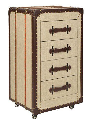 Korpus aus MDF Holz (Mitteldichte Holzfaserplatte), mit Stoff verkleidet, beige  Maße: ca. 88 cm x 50 cm x 41 cm (H x B x T)  Schubladen mit Kunstleder-Griff, Innenmaße jeweils: ca. 13 cm x 34,5 cm x 32 cm