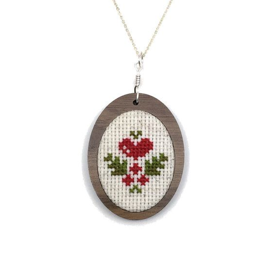 Ornament Necklace Christmas Holly Gift Set Cross Stitch Heart Holly Pendant Ornament Holiday Needlework Christmas Swedish Vintage Inspired