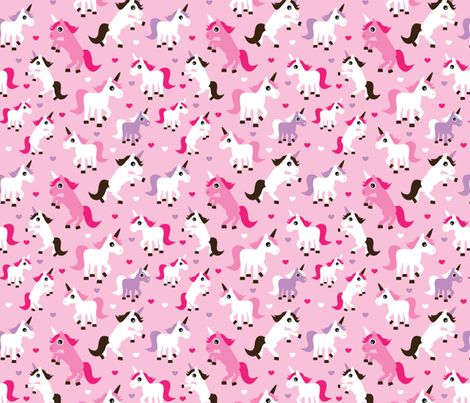 Pink unicorn girl fabric fabric by littlesmilemakers on