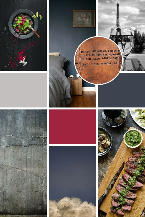 Inspiration Moodboard for luxury food blog, Pompous Peasant. A modern, minimal colour palette of deep and rich grey and red.