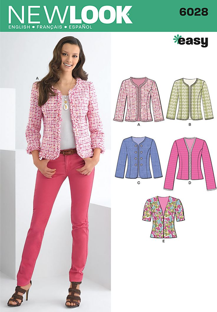 6028 Misses' Jackets  Misses' jacket with trim and sleeve variations. New Look easy sewing pattern.