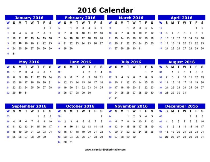 Free 2016 Calendar PDF that you can download, customize, and print. Calendars are available in PDF, Images and Microsoft Word formats.
