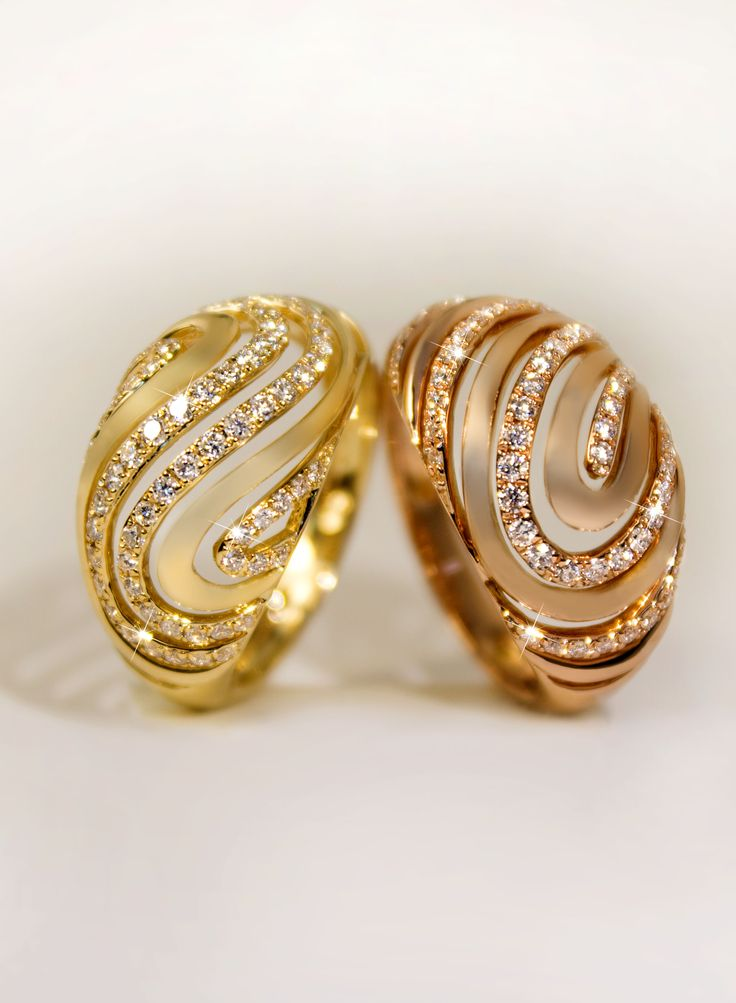 #gold #rosegold #diamond #wave #ring #liali #jewellery
