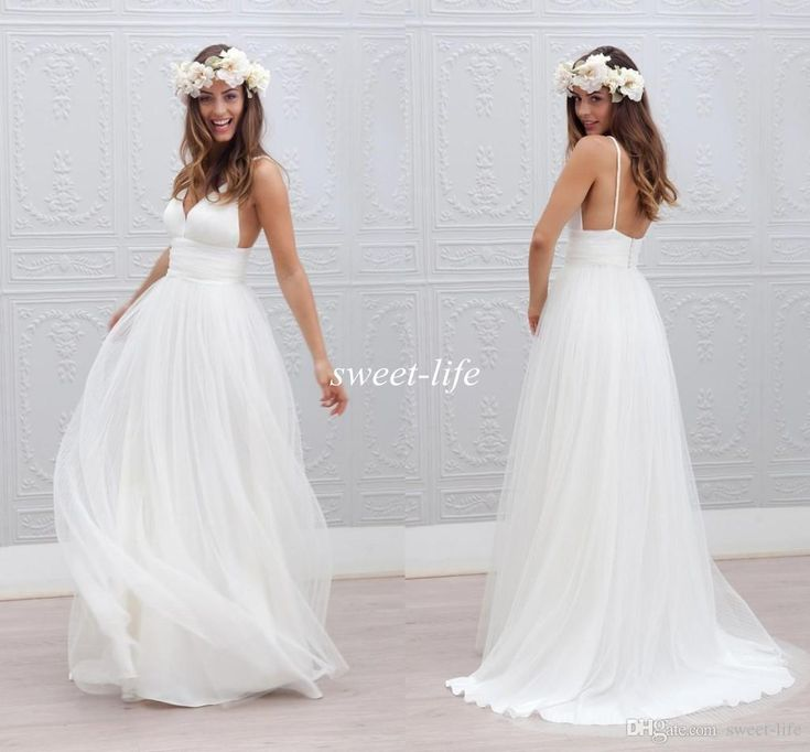 2016 Boho Summer Beach Wedding Dresses Simple Backless Spaghetti Straps Tulle A-Line Floor Length Sleeveless Cheap Sexy Bridal Wedding Gowns Online with $102.02/Piece on Sweet-life's Store | DHgate.com