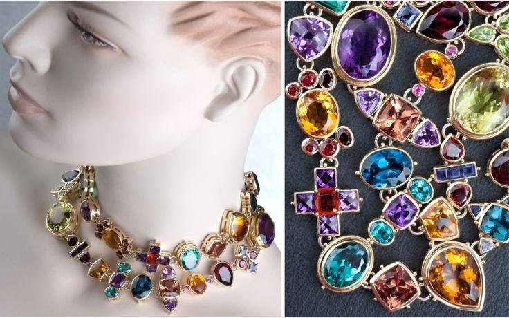 Multi-coloured gemstones set in 18ct gold
