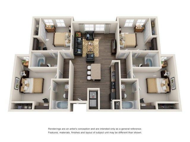 4 Bedroom 4 Bathroom D1 Is A 4 Bedroom Apartment Layout Option At Mazza Grandmarc This 361 00 Sqft In 2020 4 Bedroom Apartments Apartment Floor Plans Bedroom Apartment