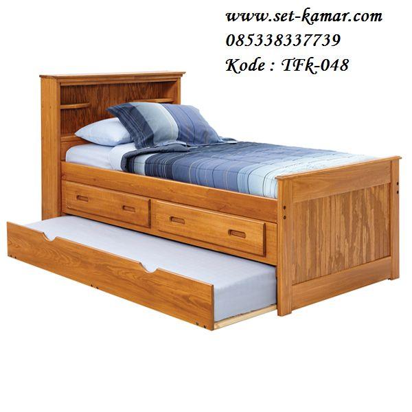 Tempat Tidur Anak Jati, Dipan Anak Ukuran 90x200 cm, Ranjang Anak Kayu jati, Tempat Tidur Anak Berlaci, Tempat Tidur Anak Sorong 2 Bed